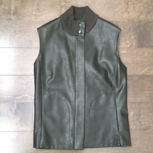 🍁 Dark Olive Green Leather & Knit Vest